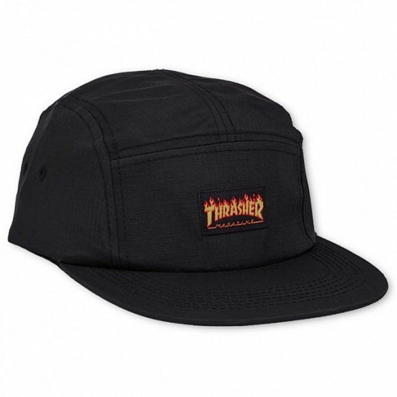 Бейсболка THRASHER FLAME LOGO 5-PANEL HAT black