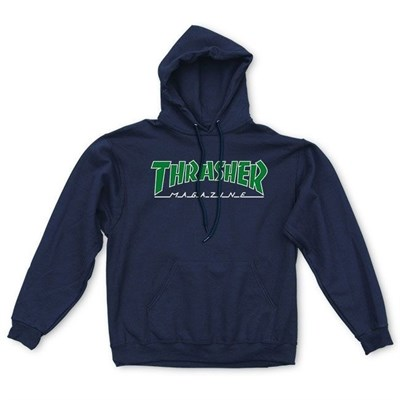 Thrasher толстовка OUTLINED HOOD BLACK