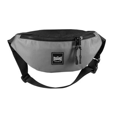 """Поясная сумка """"Тайна"""" Colorblock серый-черный таслон"""