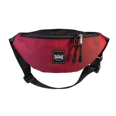 """Поясная сумка """"Тайна"""" Colorblock темнокрасный-черный таслон"""