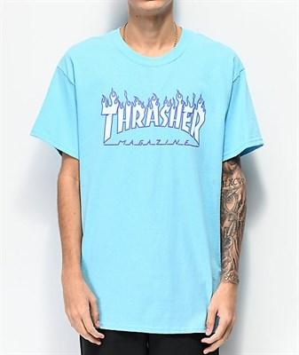 Thrasher футболка FLAME S/S SKY BLUE