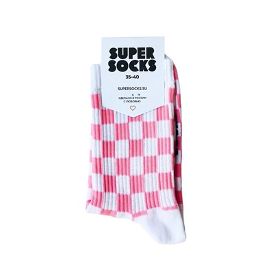 Носки SUPER SOCKS Шахматы (40-45, Розовый )