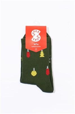 Носки SUPER SOCKS Новогодние Украшения (35-40, Зеленый )