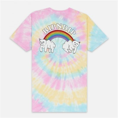 Футболка Ripndip Double Nerm Rainbow Tee Pastel Spiral Dye
