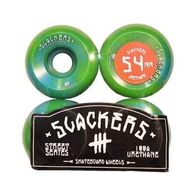 "Колеса SLACKERS street series ""stoner"" лайм и синий, 100А/52мм"