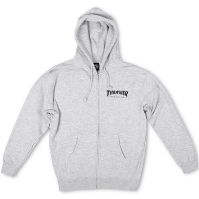 Худи THRASHER LOGO ZIP HOOD grey