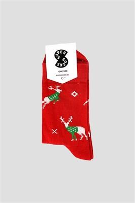 Носки SUPER SOCKS олени в свитерах Красный
