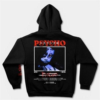 """Худи КУЛЬТУРА oversize """"Psycho"""",с начесом, черный"""