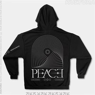 """Худи КУЛЬТУРА oversize  """"PEACE"""", черный"""